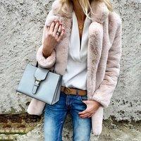 Wholesale Winter Lapel Faux Fur Coat Women Oversize Elegant Outwear
