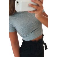 Summer Sexy Slim Fit Womens Blouse Casual Round Neck Short Sleeve Soild Basic Crop Top T-Shirt for Teens