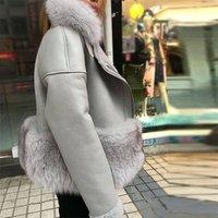 Wholesale genuine leather fur jacket  short real shearling sheepskin fur coat with fox fur collar