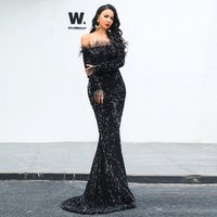 Celebrity Evening Party Dress Women Sleeve Mesh Sexy Fringe Tassel Dress off shoulder sequins black evening long party dress