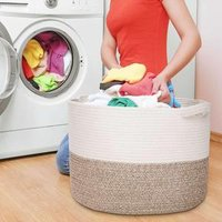 QJMAX Home Decor XXXL Large Size Cotton Rope Woven Laundry Storage Basket Organizer