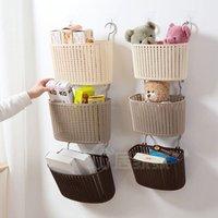 Factory wholesale double hook flower rattan plastic storage hanging basket bathroom bath hanging basket