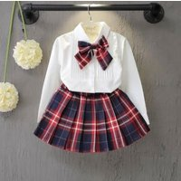 Professional made Spring Girl Uniform Set Solid Color Shirt Plus Plaid Skirt Factory Direct Children School Uniform