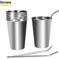 Eco Friendly tumbler cups stainless steel travel mug drinking cups with straws 8oz