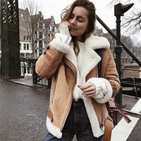 wholesale motorcycle Wool Leather Zipper turtleneck warm winter Faux Shearling Oversized women suede Jacket oversized fur coat
