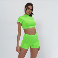 neon set two piece crop top shorts high waist women clothes fitness sexy short sleeve new casual matching sets