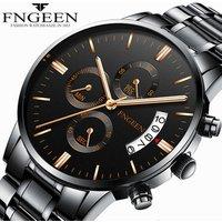 Fngeen Brand Fashion Trend Women Student Sports Quartz Waterproof Luminous Belt Steel Wrist Watch Men