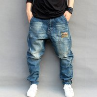 Wholesale Personalised Logo Plus Size Baggy Big Elastic Hip Hop Jeans for Men Loose Harem Trousers Ripped Men Jeans Denim Pocket