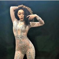 Sparkly Silver Stones See Through Jumpsuit Female Singer Dancer Show One-piece Mesh Womens Birthday Bodysuit Evening Wear