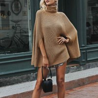 fashion Womens Solid Turtleneck Batwing Sleeve Cloak pullover Sweater Poncho Sweater dress tops
