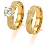 R-119 latest wedding gold finger ring designs with one stone for men and women stainless steel zircon ring gold wedding ring set