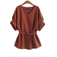 Women Linen Cotton Batwing Sleeve Bow tie Tunic Shirt V-Neck Loose Tops for Female Summer Autumn Womans Blouse Plus Size 30%