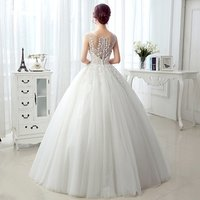 Cheap pearls appliqued puffy floor length plus size white ivory lace wedding gowns MWA02