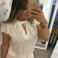 2018 Women Sexy Blouse Summer Casual Hollow Chiffon Short Sleeve Splice Lace Blouse Tops Shirts