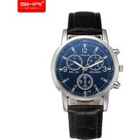 SIKAI Dropshipping Factory Wholesale Cheap Blue Glass Mens Watches Small Dials PU Leather Wrist Watch