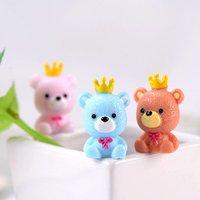 'Free Shipping 3pcs/set Doll House Resin Decor Toys Cute Micro Landscape Ornaments Mini Crown Bear Animal Fairy Garden Decoration
