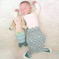 wholesales onesie knotted baby gown faish scale print fish tail sleeping bags raglan long sleeve baby pajama
