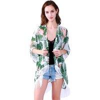 Fashion style women summer printing cardigan abaya kimono