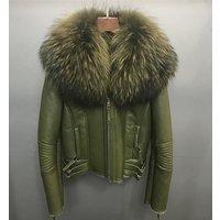 Womens Korean Style Double Face Short Jacket Shearling Sheepskin Genuine Double Face Fur Collar Winter Coat
