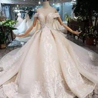 HTL224 Jancember luxury hot cap sleeve flower pattern turkish designers princess wedding dresses plus size vestidos de novia