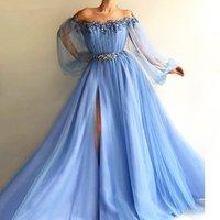 Muslim Evening Dresses Long Sleeves Tulle Slit Pearls Islamic Dubai Saudi Long Formal Prom Gowns