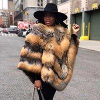 Factory elegant graceful winter custom design fur poncho women fox fur coat