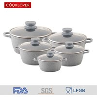 'Cooklover 10 Piece Die-cast Aluminum Marble Coated Non Stick Cooking Soup Pot Sets And Cookware Sets Kitchen