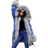 Hot Sale Fox Fur Collar Women Winter Coat Thick Warm Outwear Long Sleeve long Tops Jacket Fashion Clothing EAA0937