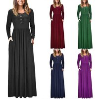 China Factory Wholesale Autumn New Design Round Colla With Button Long Sleeve Maxi Dress Casual Women Dress