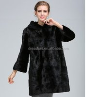 High quality lady mink overcoat fur coat from china factory