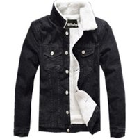 Ready to ship Mens black jcotton jeans sherpa fleece Winter jacket