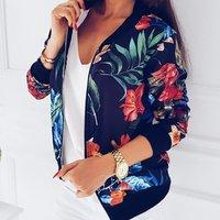 Autumn Jacket Floral Print Long Sleeve Jumper Zipper Short Baseball Jackets