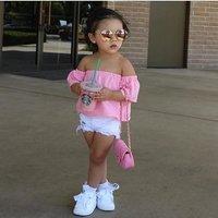 Unique Kids Clothing Baby Girls Clothes Sets Summer Girls denim short pink word shoulder coat + white s Childrens Clothing