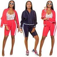 YSMARKET Casual Tracksuits Women 2 Piece Set Long Sleeve Coat Tops Knee Length Pants Bodycon Set Sports Gym Clothing L5262