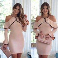 Ladies Flouncing Strapless Evening Dress Women Sling Long Sleeve Party Dress Pencil Dress
