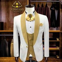 3 Piece White Coat Pant Men Suit Wedding Groom Party Prom Dresses Tuxedo Formal Suits