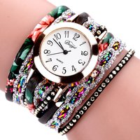 Duoya Brand Fashion Round Dial Quartz Watch Women Flower Wristwatch Steel Luxury Bracelet Watch Multilayer Wrist Watch