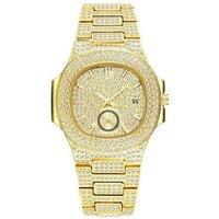 Hiphop Jewelry Couple Gold Stainless Steel Diamond Full Set Quartz Wristwatch