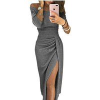Womens shinny ruched thigh slit off shoulder metallic knit bodycon midi evening party wear dresses