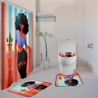 4 Pcs/Set Toilet Seat Cover Bath Mat Lid Cover Bath Rug Set Bathroom Accessories African American Woman Shower Curtain Set