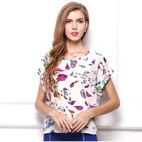 Wholesale Big Dot Blouse Summer Short Sleeve Women Chiffon Blouse Casual Shirts Thin Women Tops  Solid Ladies Cheap Clothes