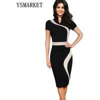 Womens Dresses Elegant Optical Illusion Colorblock Contrast Patchwork O-Neck Bodycon Work Casual Office Pencil Dress E1530
