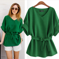 Summer Women Blouses Tunic Shirt V Neck Big Bow Batwing Tie Loose Ladies Blouse Female Top