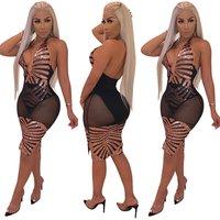 Women Sexy Halter Deep V Neck Backless Mesh Transparent Sequins Bodycon Club Dress