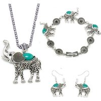 Fashion alloy  necklace bracelet earrings elephant jewelry set