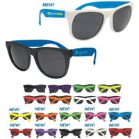 New style advertising own logo printed folded blue earpieces white frames black lenses UV 400 protective sun glasses sunglasses