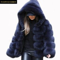Autumn and winter faux fur coat new womens hooded faux fur coat