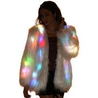 Led Light Up White Faux Fur Coat Jacket Vest Glow Clothing Burning Man Costumes Clothes Outfits For Men Women Rave