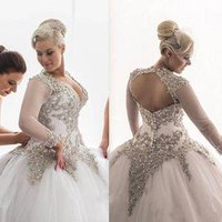 ZH3950G Luxurious Crystal Beaded Ball Gown Wedding Dresses 2019 V Neck Sheer Long Sleeve Floor Length Bridal Gowns Plus Size