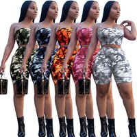 2019 Summer FASHION New Arrive Womens strap Top bustier With Shorts Printed camouflage  Two Piece Sets jumpsuit